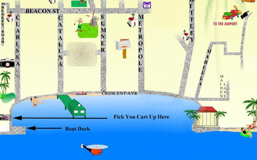 Location Map for Catalina Golf Cart Rental from Island Rentals