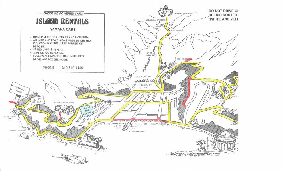 Scenic Map fro Catalina Golf Cart Rentals, Island Rentals